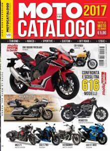Motocatalogo 2017 in copertina le Honda Fireblade e CB1100EX, le Harley-Davidson Roadster e Road Glide Ultra, Moto Guzzi V9 e MGX-21 e le Suzuki GSX-R1000 e la GSX-S750.
